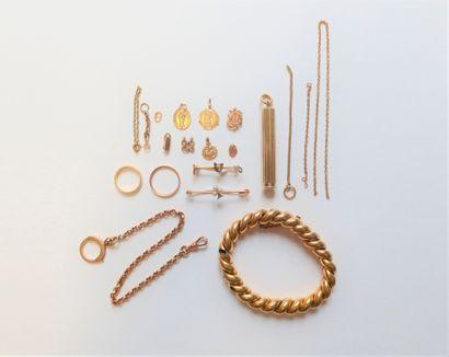 Lot de bijoux et accessoires en or Poids...