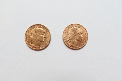 2 pièces de 20 Francs en or. Type Coq. 1909...