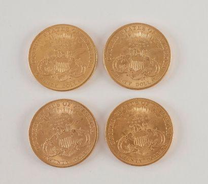 4 pièces de 20 Dollars en or. Type Liberty. 1904.