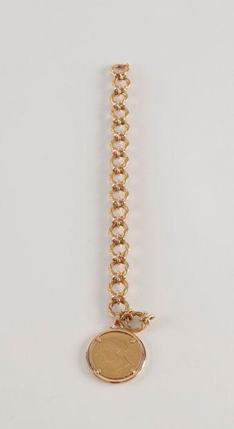 Bracelet en or (18K) maillons torsadés retenant...