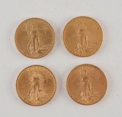 4 pièces de 20 Dollars en or. Type Saint...