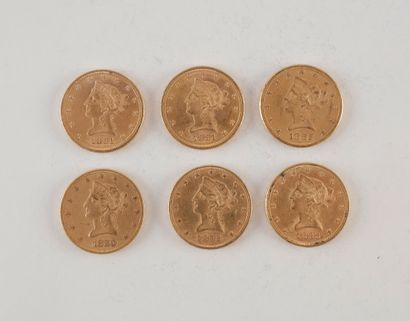 6 pièces de 10 Dollars en or. Type Liberty....