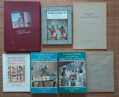 [ARCHÉOLOGIE - ÉGYPTOLOGIE] 8 ouvrages sur les hiéroglyphes. *Grammaire égyptienne....