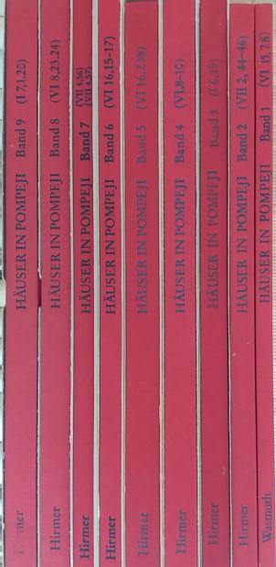 """[ARCHÉOLOGIE - POMPÉI] 9 ouvrages, en allemand. Collection """"Häuser in Pompeji"""" Complet..."""