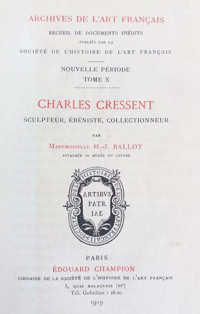 [MOBILIER] 1 ouvrage sur Charles Cressent,...