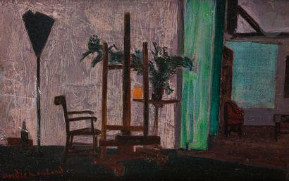 André MARCHAND (1907-1997) Intérieur, l'atelier,...