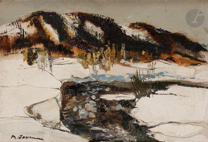 Michel JOUENNE (né en 1933) Neige Huile sur...