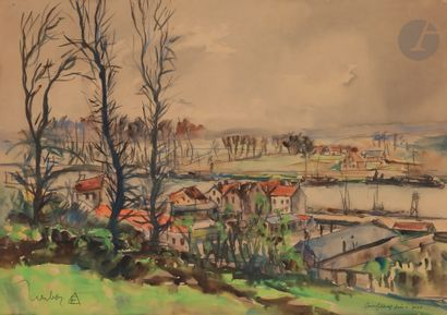 Fernand HERBO (1905-1995) Paysage à Conflans-Fin-d'Oise...