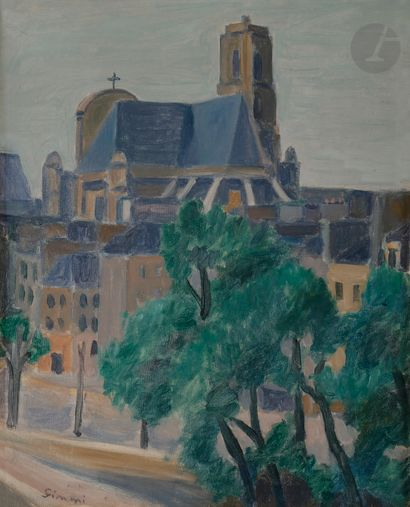Wilhelm GIMMI (1886-1965) Église Saint-Gervais,...