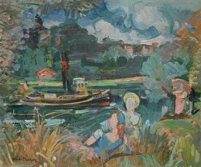 André PLANSON (1898-1981) Le Bateau l'Émilienne,...