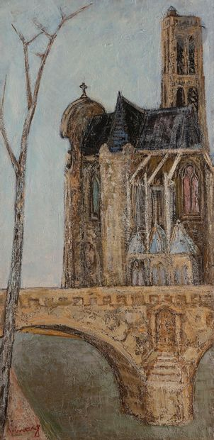 Jean VINAY (1907-1978) Le Pont Marie et l'Eglise...