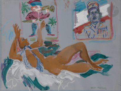 André PLANSON (1898-1981) Nu aux portraits...