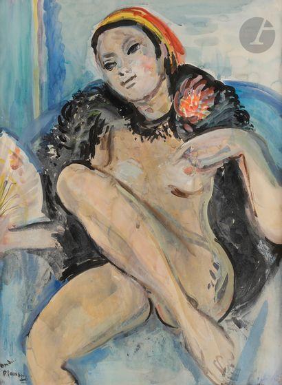 André PLANSON (1898-1981) Nu assis Encre...