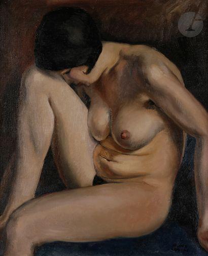 Paul COLIN (1892-1985) Nu féminin assis Huile...