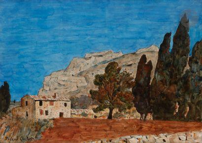 Roland OUDOT (1897-1981) Les Cyprès à Eygalières,...