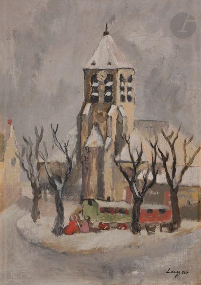Celso LAGAR (1891-1966) Roulottes devant...