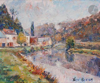Yves BECON (1907-2004) Village en bord de...