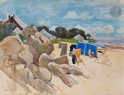 André PLANSON (1898-1981) La Grande plage...