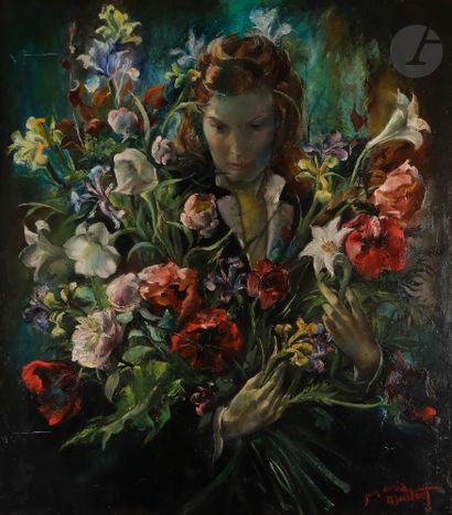 Jean Denis MAILLART (1913-?) Femme aux fleurs...