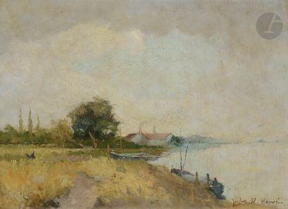 Jules-René HERVÉ (1887-1981) Paysage lacustre...