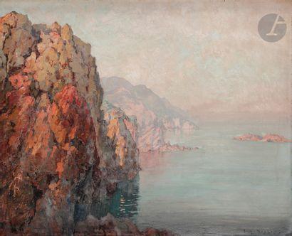 Eugène DESHAYES (1862-1939) Bord de mer en...