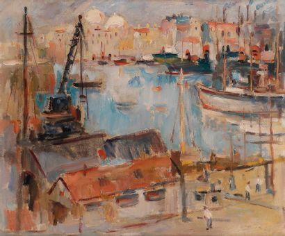 Max AGOSTINI (1914-1997) Le Port de Marseille...