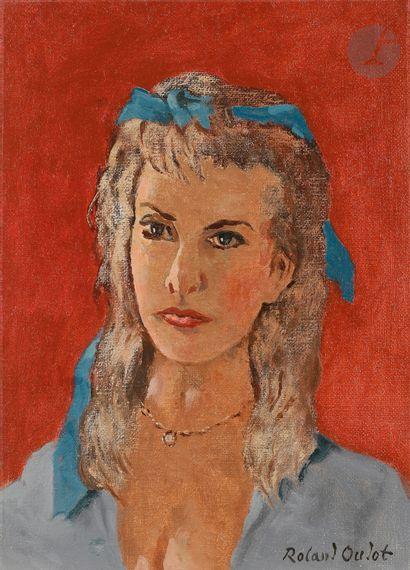 Roland OUDOT (1897-1981) Femme au ruban bleu...