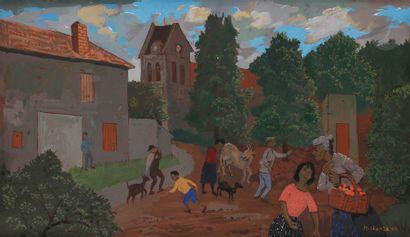 Grégoire MICHONZE (1902-1982) Scène de village,...