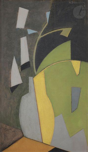 André BEAUDIN (1895-1979) Deux fleurs bleues,...