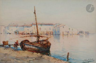 Gilbert GALLAND (1870-1956) Martigues, Pêcheur...