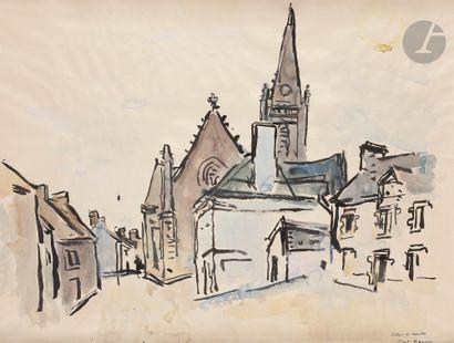 André PLANSON (1898-1981) L'Église Encre...