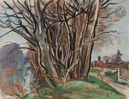 André PLANSON (1898-1981) Arbres et rivière...