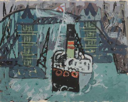 Jacques CHAPIRO (1887-1972) Londres, bateau...