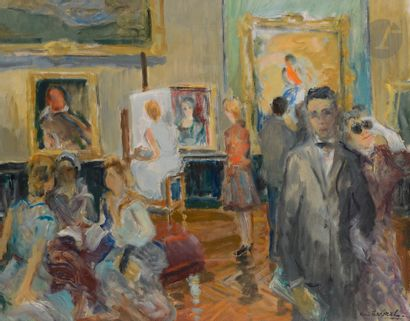 René LEVREL (1900-1981) Au Musée du Louvre,...