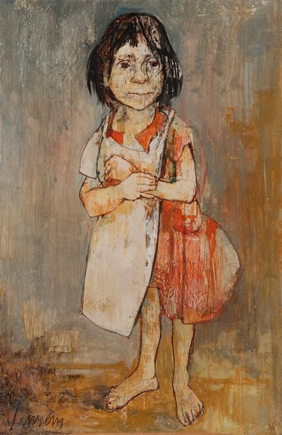 Jean JANSEM (1920-2013) Fillette au tablier...