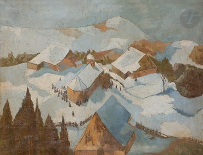 Gaston BALANDE (1880-1971) Village de montagne...