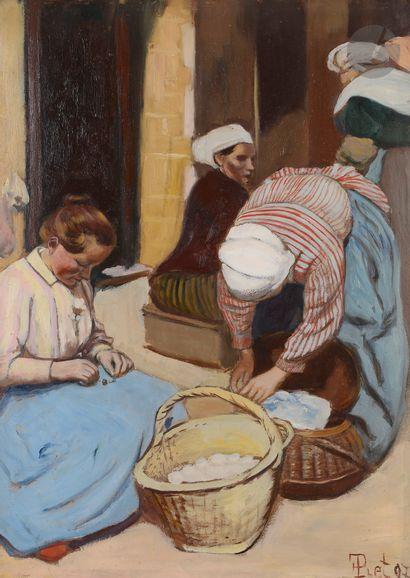 Fernand PIET (1869-1942) Bretagne, les blanchisseuses, 1897 Huile sur carton. Signée...