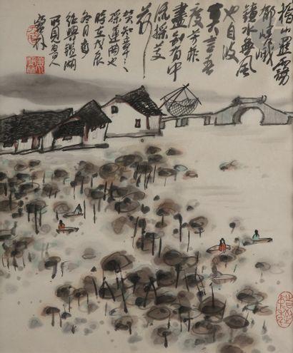 Jiang BAOLING (né en1942) Village dans un...