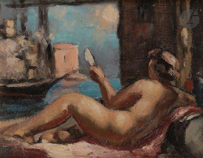 René BESSERVE (1883-1959) Odalisque au miroir...