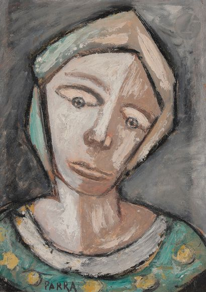 Ginés PARRA (1896-1960) Buste de femme Huile...