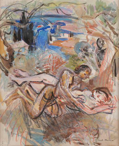 André PLANSON (1898-1981) Couple devant la...