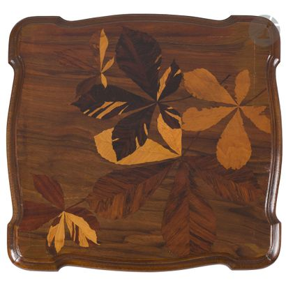 ÉTABLISSEMENTS GALLÉ (1904-1936) Feuilles de marronnier Sellette, à un plateau d'entrejambe,...