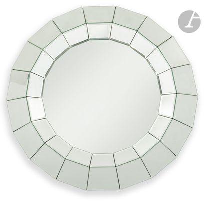 TRAVAIL MODERNE Miroir circulaire à l'encadrement...