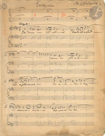 •Emmanuel CHABRIER. Manuscrit musical autographe,...