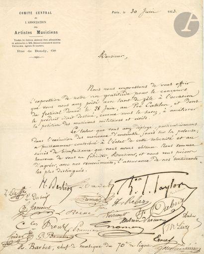 Hector BERLIOZ. L.S., signée par 20 autres...