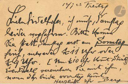 Alban BERG (1885-1935). L.A.S., [Vienne]...
