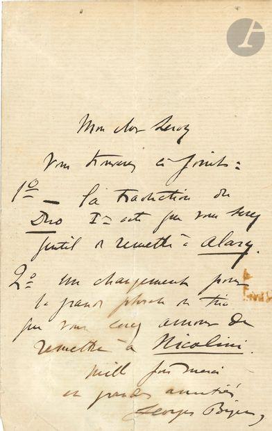 Georges BIZET (1838-1875). L.A.S. à son cher...