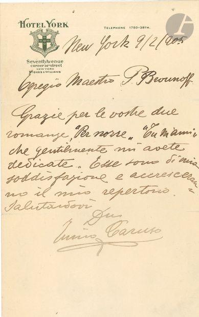 Enrico CARUSO (1873-1921). L.A.S., New York...