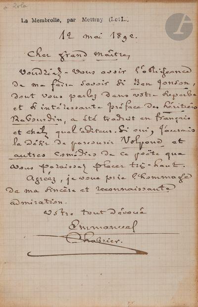 Emmanuel CHABRIER (1841-1894). L.A.S., La...