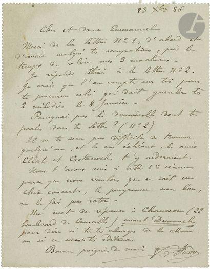 •[Emmanuel CHABRIER]. Vincent d'INDY (1851-1931)....